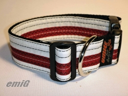 Unikat Hundehalsband white/red XL