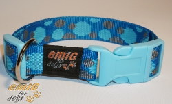 NE Hunde Halsband points blue 2,5cm