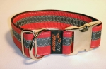 Unikat Hundehalsband red/grey2 ALU XL