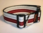 Unikat Hundehalsband white/red XL