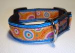Unikat Hundehalsband farbenmix blau S