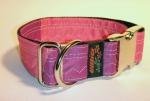 Unikat Hundehalsband violett/pink ALU XL