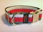 Unikat Hundehalsband red/grey ALU XL