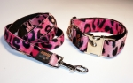 Fellhalsband leopard pink