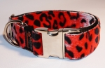 Fellhalsband leopard red