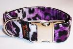 Fellhalsband leopard purple