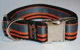 NE Hunde Halsband stripes orange 4cm